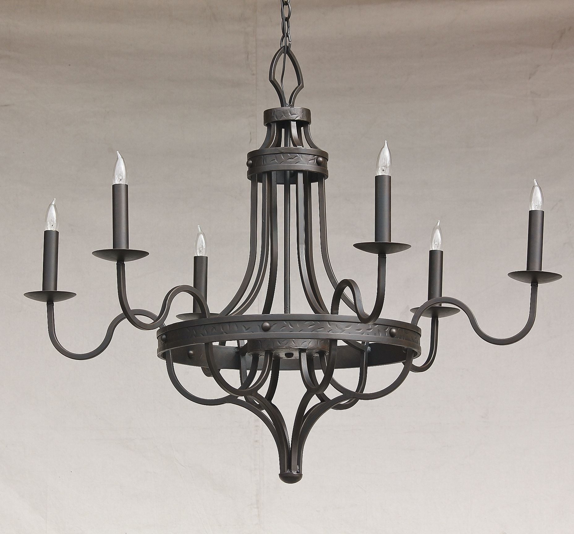 Lights Of Tuscany 1075 6 Contemporary Spanish Style Wrought Iron Chandelier