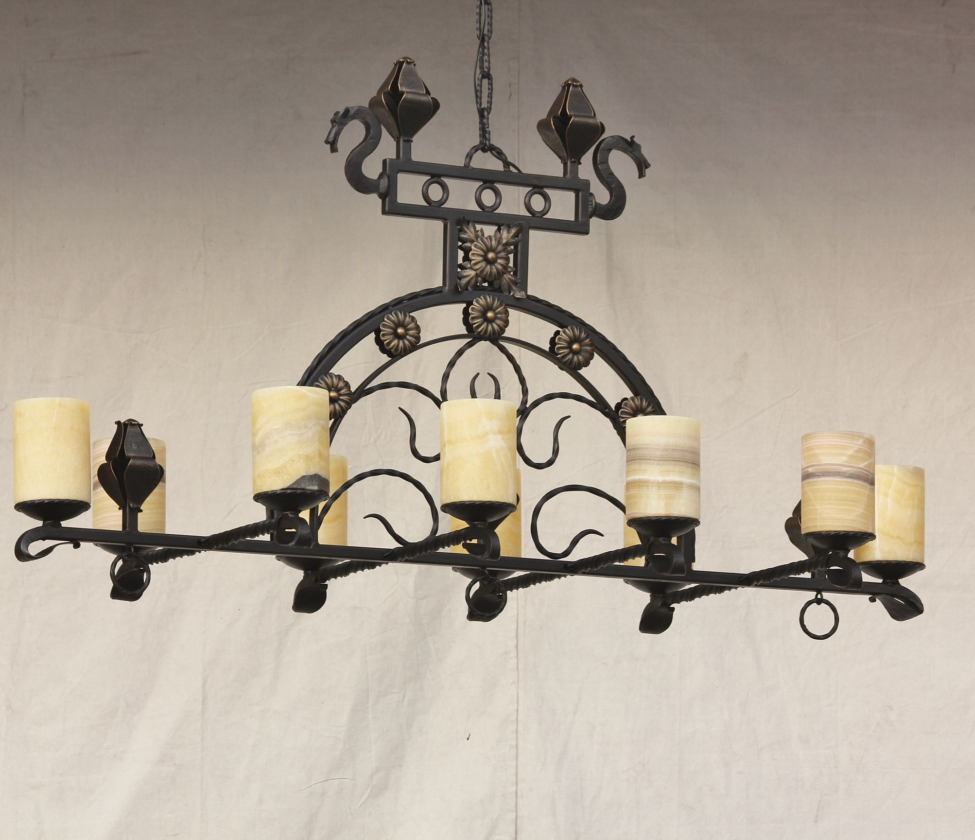 Lights Of Tuscany 1559 10 Spanish Style Wrought Iron Chandelier With Real Onyx Stone Shades