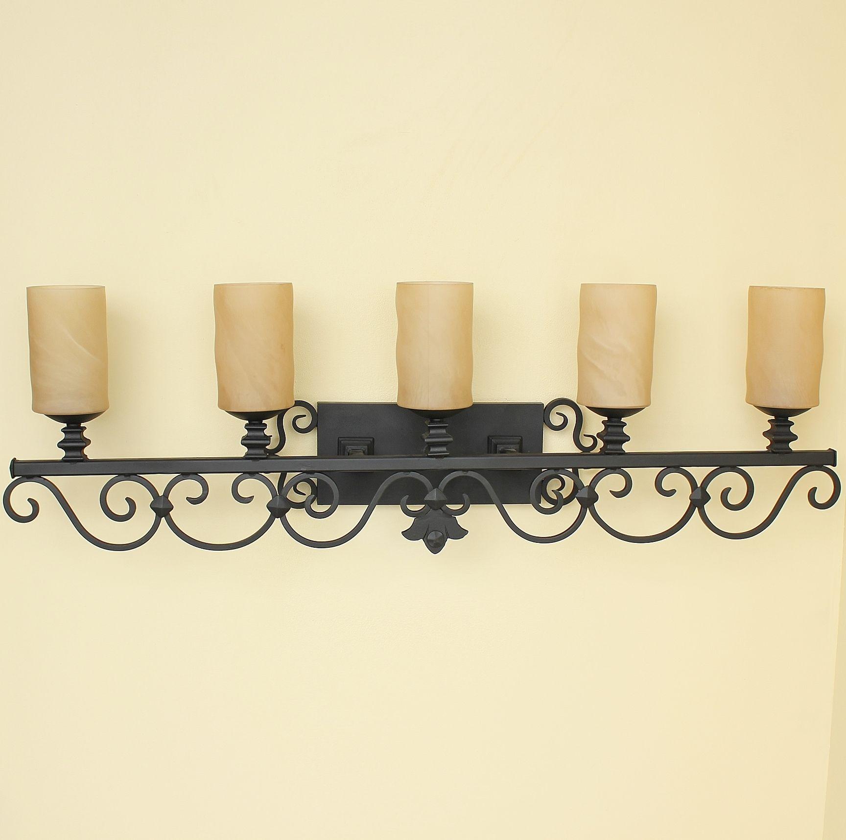 Lights Of Tuscany 5651 5 Tuscan Mediterranean Style Wrought Iron Bathroom Vanity Light